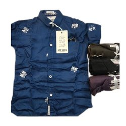 Blue Cotton Kids Party Wear Shirts, Packaging Type: Packet