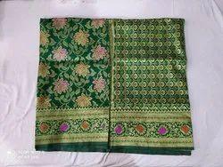 6.3 m (With Blouse Piece) Dark Green Banarasi Silk Sarees