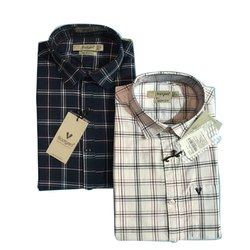 Badgers Collar Neck Mens Designer Cotton Check Shirt, Machine wash