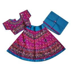 Pink And Skyblue Kids Party Wear Lehenga Choli