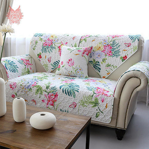 White Floral Printed Sofa Cover Rs 500 Set Kothari Enterprises