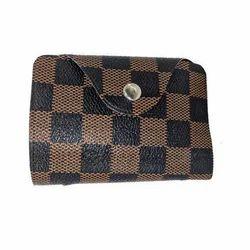 Kartar Brown And Black Mens Check Wallet, Packaging Type: Box