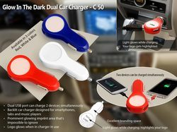 White And Blue Glow In The Dark Dual Car Charger, C50