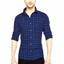 Checkered Collar Neck Mens Casual Cotton Check Shirt, Machine and Hand Wash