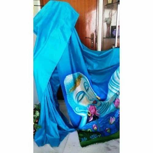 636b2c060e Hand Painted Bishnupur Sonamukhi Silk Blue Saree, Size: 6.25 M, Rs ...