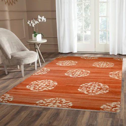 White & Orange Rectangle Cotton Flat Weave Rug