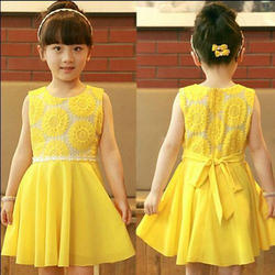 Sleeveless Girl Kids Yellow Frock