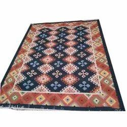 Red and Blue Handloom Woolen Carpet