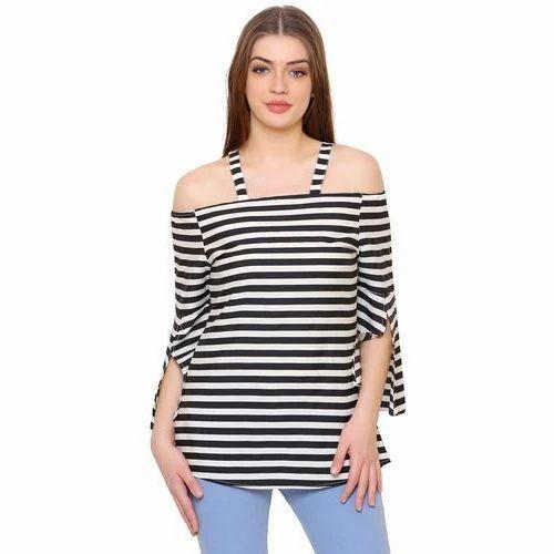 edca675466b38 Cold Shoulder Tops - Ladies Striped Cold Shoulder Top Manufacturer ...