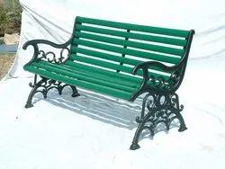 Cast Iron Furniture - Cast Iron & Hardwood Garden Bench in Original Vintage 19th Century