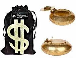 Newzenx Brass Flap Design Round Ashtray 3 Inch Velvet Pouch