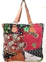 Vintage Kantha Handmade Bag with Leather handle