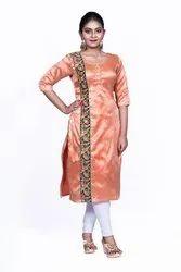 Orange Banarasi Silk Work Fancy Kurti