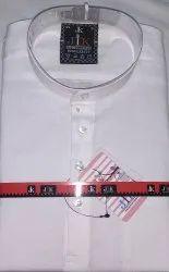 Cotton Party Wear MEN'S SHORT WHITE KURTA, Band Collar