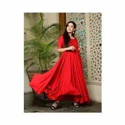 Ladies Red Anarkali Rayon Kurti