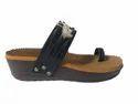 Daily Wear Plain Ladies Flatform Roe Ring Slipper(black)36-40