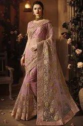 Old Rose Designer Net Saree