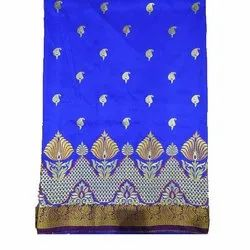 Party Wear Embroidered Ladies Satan Silk Anchal Saree, With blouse piece, 6.5 m