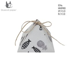 Handmade triangle White Gift Box, black fish and grey pineapple print