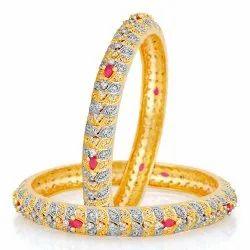 Brass Golden Designer AD Gold Plating Diamond Bangles