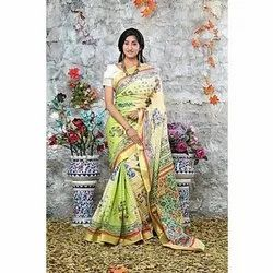 Cotton Casual Wear Dual Tone Heavy Hand Block Printed Saree, Length: 6.3 M (With Blouse Piece)