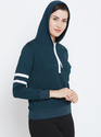 Women''s Full Sleeves White Sweatshirt with Zip
