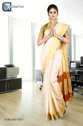 Cream with Golden Border Uniform Saree