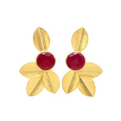 Leaf Chalcedony Gemstone Gold Plated Earrings
