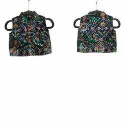 Printed Kids Black Patola Jacket, Packaging Type: Box