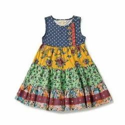 Printed Sleeveless Cotton Frock