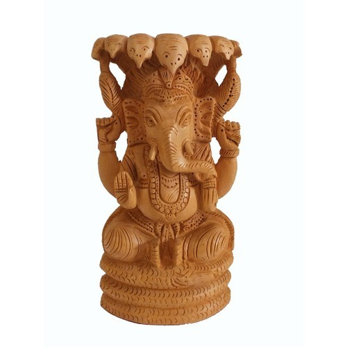 Wooden Carved Ganesha Statue