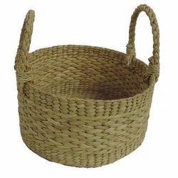 Kauna Grass, Straw Handmade Round Fruit Basket, Circular