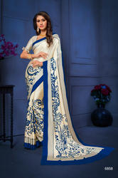Navy Blue and Beige Color Satin Silk Saree