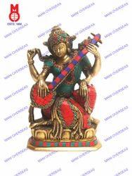 Saraswati Sitting W/Stone Work Statues