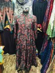 assorted prints & col. Women Vintage Silk Dress, Size: Large