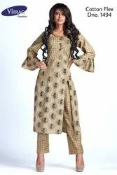 Cotton Flex Printed Kurti with Pants