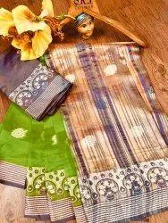 Banarasi Silk Traditional Wear Light Green Sarees With Blouse Piece