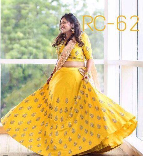 Yellow Free Indian Ethnic Bangalori Silk Designer Party Wear Lehenga ...