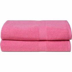 Plain Dobby Border Pink Cotton Bath Towel, For Bathroom, Size: 30x60 Inch