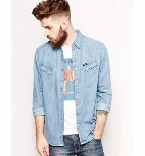 a258eae5 Wrangler Denim Slim Shirt Blue at Rs 1199 | Mens Denim Shirt | ID ...