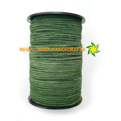Green Round Suede Leather Cord