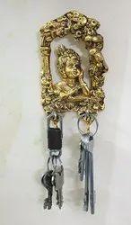 Gold Plated Laddu Gopal Keychain Holder