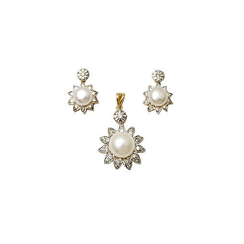 Diamond Pendant Jewelry Pearl Set