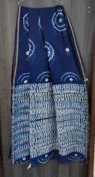 Bagru Tie & Dye Shibori Print Chanderi Saree