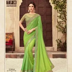 Green Embroidered Silk Sarees