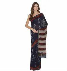 Pinkshink Blue Hand Batik Printed Chanderi Saree With Blouse, Length: 5.5 m (Separate Blouse Piece)