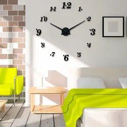 Black Silver Modern Frameless Diy Large Wall Clock