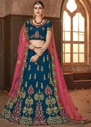 Prussian Blue Embroidered Silk Lehenga Choli