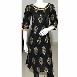 Black Gold Printed Cotton Kurti