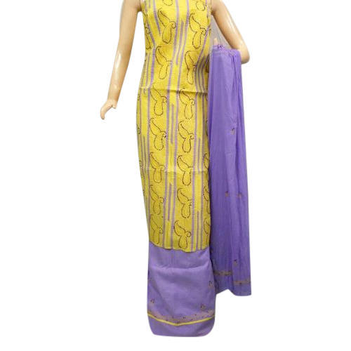 Cotton Yellow and Purple Ladies Unstitched Suit